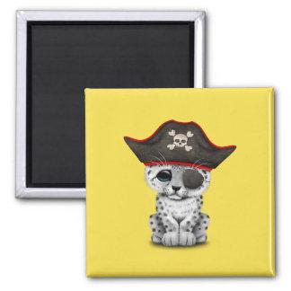 Cute Baby Snow Leopard Cub Pirate Magnet