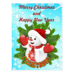 Cute Baby Snowman and Crystal Snowflakes Postcard
