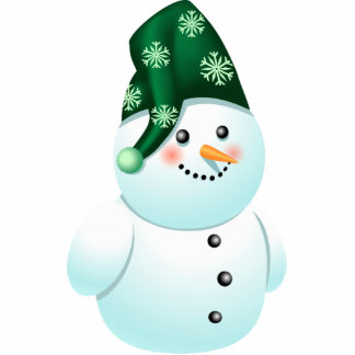 Cute Baby Snowman Cartoon With Green Hat Statuette