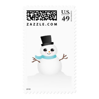 Cute Baby Snowman with Blue Scarf Stamps