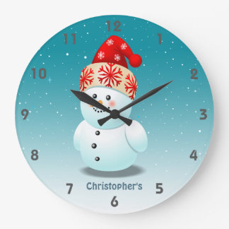 Cute Baby Snowman With Red Christmas Hat Large Clock