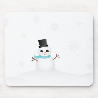 Cute Baby Snowman with Winter Snowflakes Mouse Pad