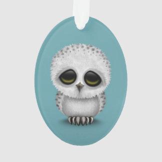 Cute Baby Snowy Owl Chic on Blue Ornament