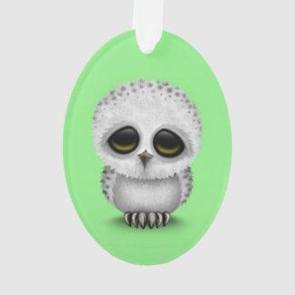 Cute Baby Snowy Owl Chic on Green Ornament