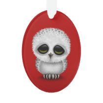 Cute Baby Snowy Owl Chic on Red Ornament