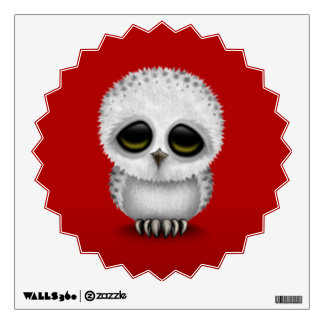 Cute Baby Snowy Owl Chic on Red Wall Decal