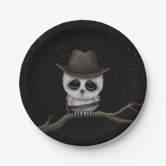 Cute Baby Snowy Owl Cowboy with Stars Paper Plate