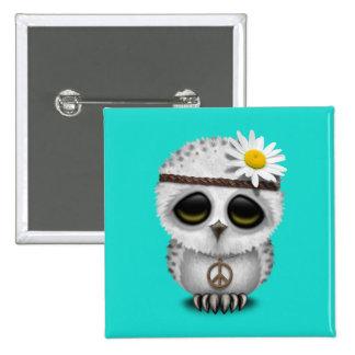 Cute Baby Snowy Owl Hippie Button