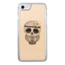 Cute Baby Snowy Owl Hippie Carved iPhone 7 Case