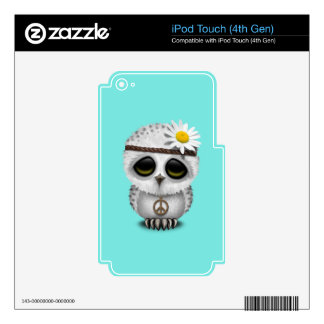Cute Baby Snowy Owl Hippie Decals For iPod Touch 4G
