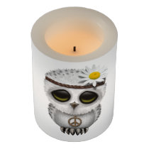 Cute Baby Snowy Owl Hippie Flameless Candle