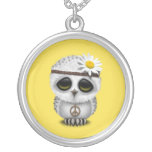 Cute Baby Snowy Owl Hippie Silver Plated Necklace