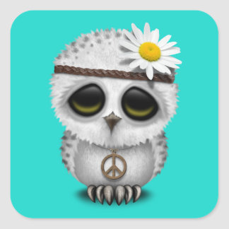 Cute Baby Snowy Owl Hippie Square Sticker