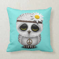 Cute Baby Snowy Owl Hippie Throw Pillow
