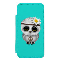 Cute Baby Snowy Owl Hippie Wallet Case For iPhone SE/5/5s