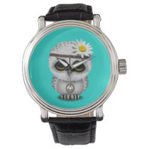 Cute Baby Snowy Owl Hippie Wristwatch