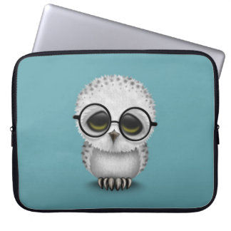 Cute Baby Snowy Owl Wearing Glasses on Blue Computer Sleeve