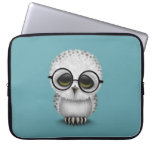 Cute Baby Snowy Owl Wearing Glasses on Blue Laptop Sleeve