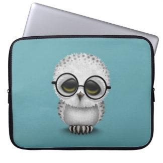 Cute Baby Snowy Owl Wearing Glasses on Blue Laptop Sleeve