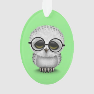 Cute Baby Snowy Owl Wearing Glasses on Green Ornament