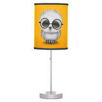 Cute Baby Snowy Owl Wearing Glasses on Yellow Desk Lamp