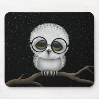 Cute Baby Snowy Owl Wearing Glasses with Stars Mouse Pad