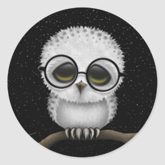 Cute Baby Snowy Owl Wearing Glasses with Stars Sticker