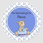 Cute baby teddy baer bookplate classic round sticker