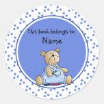 Cute baby teddy baer bookplate stickers