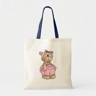 Cute Baby Teddy Bear in Pink Overalls Tote Bag