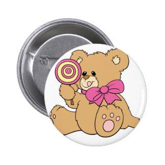 Cute Baby Teddy Bear with Lollipop 2 Inch Round Button