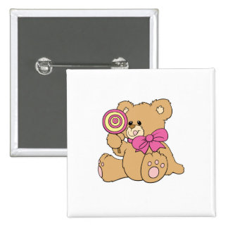 Cute Baby Teddy Bear with Lollipop 2 Inch Square Button