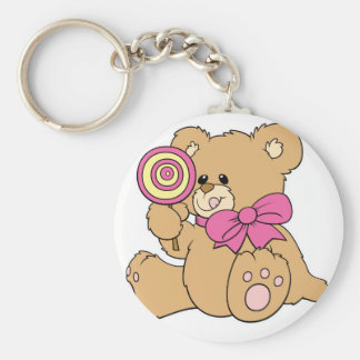 Cute Baby Teddy Bear with Lollipop Basic Round Button Keychain