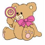 Cute Baby Teddy Bear with Lollipop Photo Sculpture