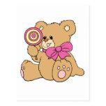 Cute Baby Teddy Bear with Lollipop Postcard