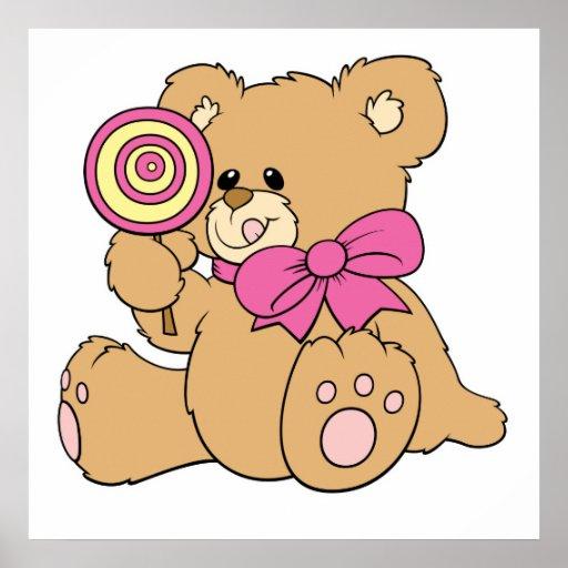 Cute Baby Teddy Bear with Lollipop Poster