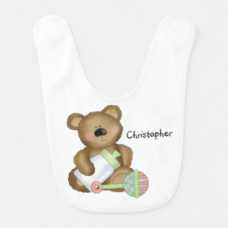 Cute Baby Teddy with Toys/Baby Bottle and Rattle Bibs