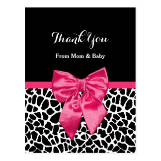 Cute Baby Thank You Girly Giraffe Print Pink Bow Postcard