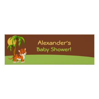 Cute Baby Tiger Baby Shower Banner Print