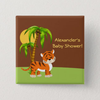 Cute Baby Tiger Baby Shower Button