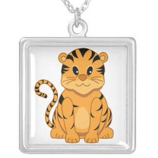 Cute Baby Tiger Cartoon Animal Silver Plated Necklace