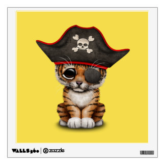 Cute Baby Tiger Cub Pirate Wall Decal