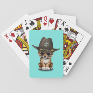 Cute Baby Tiger Cub Sheriff Playing Cards