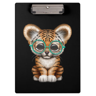Cute Baby Tiger Cub Wearing Glasses on Black Clipboard