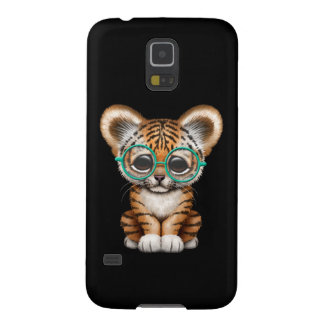 Cute Baby Tiger Cub Wearing Glasses on Black Galaxy S5 Cases