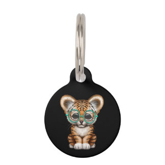 Cute Baby Tiger Cub Wearing Glasses on Black Pet Name Tag