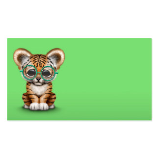 Cute Baby Tiger Cub Wearing Glasses on Green Business Card