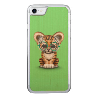 Cute Baby Tiger Cub Wearing Glasses on Green Carved iPhone 7 Case