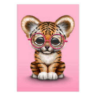 Cute Baby Tiger Cub Wearing Glasses on Pink Large Business Card