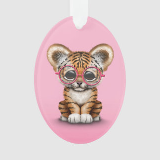 Cute Baby Tiger Cub Wearing Glasses on Pink Ornament